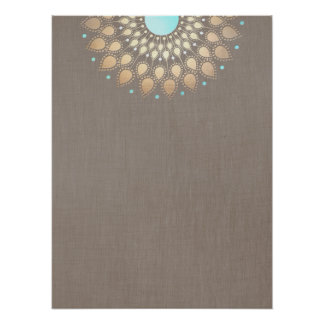 Elegant Gold Ornate Lotus Mandala Poster