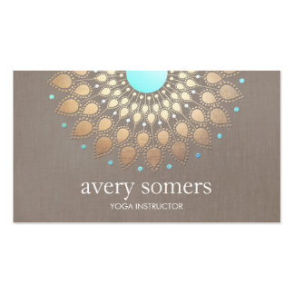 Elegant Gold Ornate Lotus Mandala Taupe Linen Look Pack Of Standard Business Cards