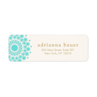 Elegant Gold Ornate Lotus Mandala Wood Look Return Address Label
