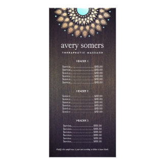Elegant Gold Ornate Lotus Mandala Wood Price List Personalized Rack Card