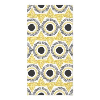 Elegant Gold Ornate Triangle & Circle Pattern Personalised Photo Card