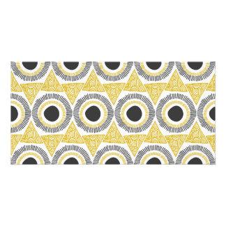 Elegant Gold Ornate Triangle & Circle Pattern Personalized Photo Card