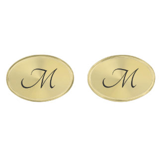 Elegant Gold Oval Monogram Cufflinks Gold Finish Cuff Links