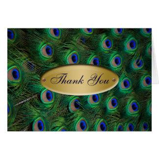 elegant gold peacock Thank you Greeting Card
