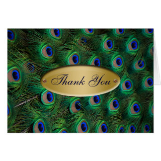 elegant gold peacock Thank you Greeting Cards