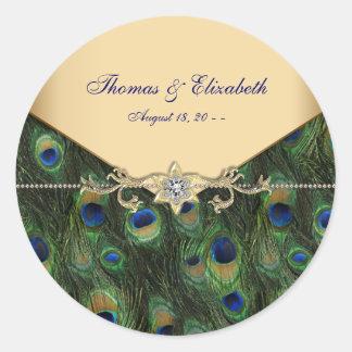 Elegant Gold Peacock Wedding Invitations Round Sticker