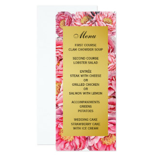 Elegant Gold & Peonies Floral Wedding Menu 10 Cm X 24 Cm Invitation Card
