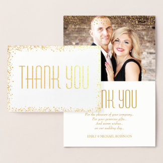 Elegant gold photo thank you foil card