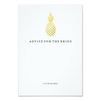 Elegant Gold Pineapple Advice for the Bride 9 Cm X 13 Cm Invitation Card