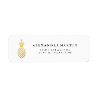 Elegant Gold Pineapple Return Address Label