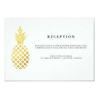 Elegant Gold Pineapple Wedding Reception Card
