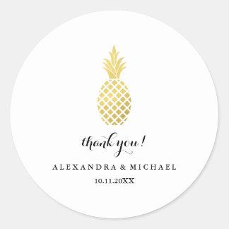 Elegant Gold Pineapple Wedding Thank You Round Sticker