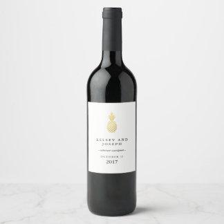Elegant Gold Pineapple Wine Label