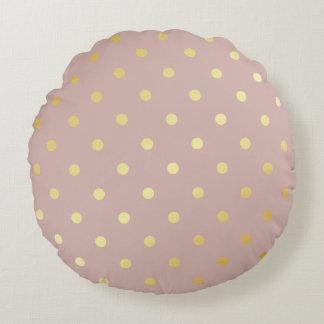 elegant gold pink polka dots round cushion