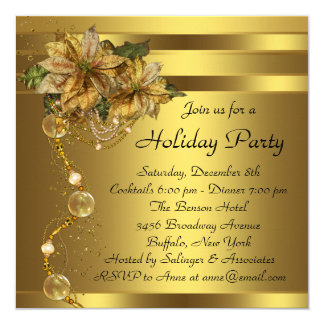 Elegant Gold Poinsettia Black Gold Christmas Party 13 Cm X 13 Cm Square Invitation Card
