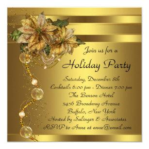 Elegant Gold Poinsettia Black Gold Christmas Party Invitation