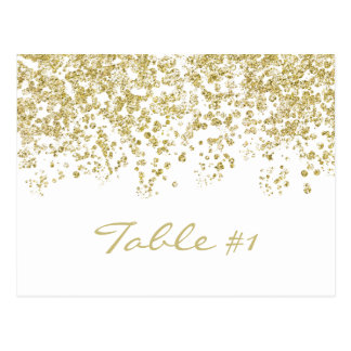 Elegant gold polka-dots confetti Table number Postcard