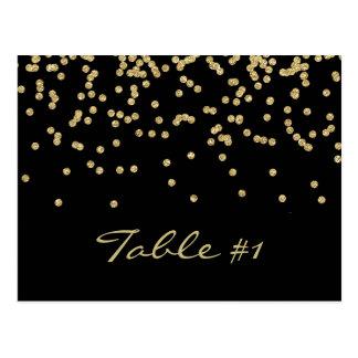 Elegant gold polka-dots confetti Table number Postcard