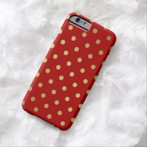 Elegant Gold Polka Dots in Stylish Red iPhone 6 Case