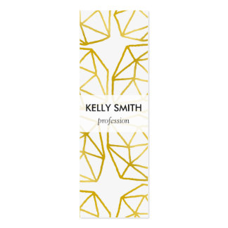 Elegant Gold Polygonal Unique Geometric Pattern Double-Sided Mini Business Cards (Pack Of 20)