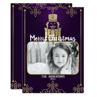 Elegant Gold Purple Nutcracker Holiday Photo Card