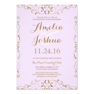 Elegant Gold Purple Swirl Engagement Party Invite