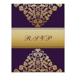elegant gold purple wedding RSVP 11 Cm X 14 Cm Invitation Card