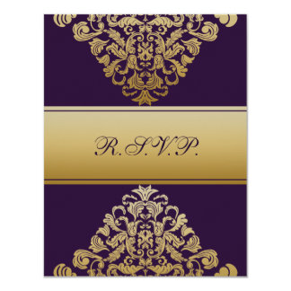 elegant gold purple wedding RSVP Card