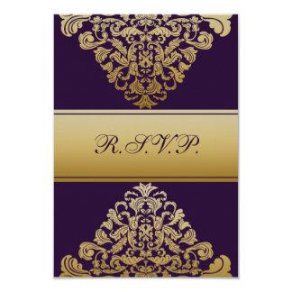 elegant gold purple wedding RSVP Standard 3.5 x 5 9 Cm X 13 Cm Invitation Card