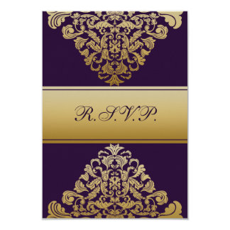 elegant gold purple wedding RSVP Standard 3.5 x 5 Card