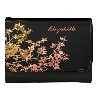 Elegant Gold Red Fall Leaves Personalized Name Wallet