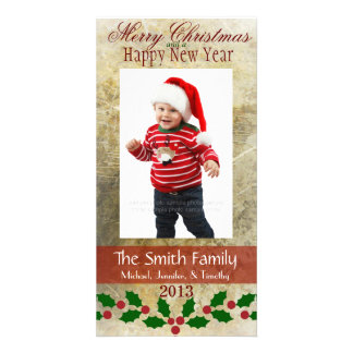 Elegant Gold Red & Green Holly Family Photo Card