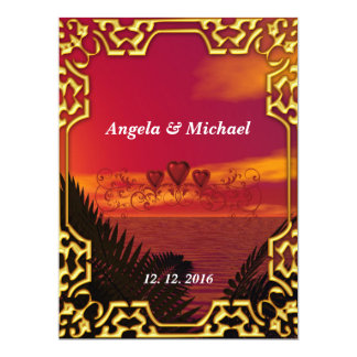 Elegant  Gold Red Hearts Wedding Invitation