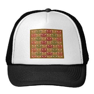 Elegant Gold Red Jewel Pattern GOODluck symbol fun Hats
