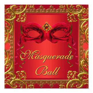 Elegant Gold Red Mask Red Masquerade Party 13 Cm X 13 Cm Square Invitation Card