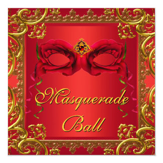 """Elegant Gold Red Mask Red Masquerade Party 5.25"""" Square Invitation Card"""