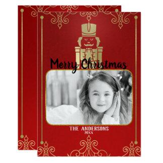 Elegant Gold & Red Nutcracker Holiday Photo Card