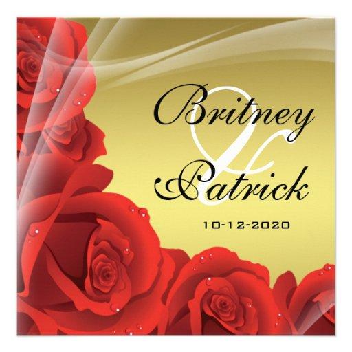 Elegant Gold & Red Rose Wedding Invitations