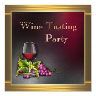 "Elegant Gold Red Wine Tasting Party Invitations 5.25"" Square Invitation Card"