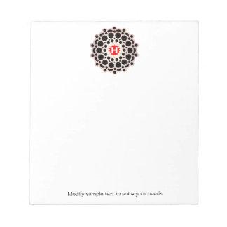 Elegant Gold Rosette Monogram Personalized Notepad