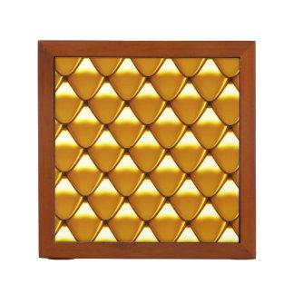 Elegant Gold Scale Pattern Desk Organiser