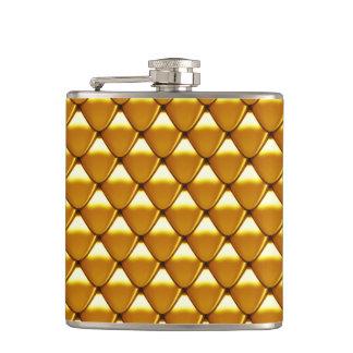 Elegant Gold Scale Pattern Hip Flask