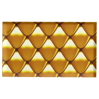 Elegant Gold Scale Pattern Table Card Holder