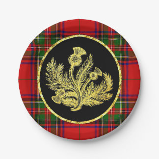 Elegant Gold Scottish Thistle and Plaid Paper Plate