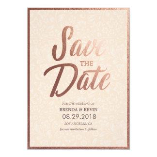 Elegant Gold Script Save the Date Card Faux Foil 11 Cm X 16 Cm Invitation Card