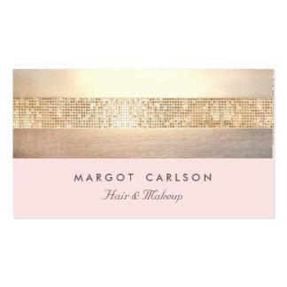 Elegant Gold Sequins Light Pink Striped *NO SHINE Pack Of Standard Business Cards