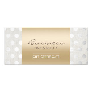 Elegant Gold & Silver Dots Salon Gift Certificates Rack Card Design