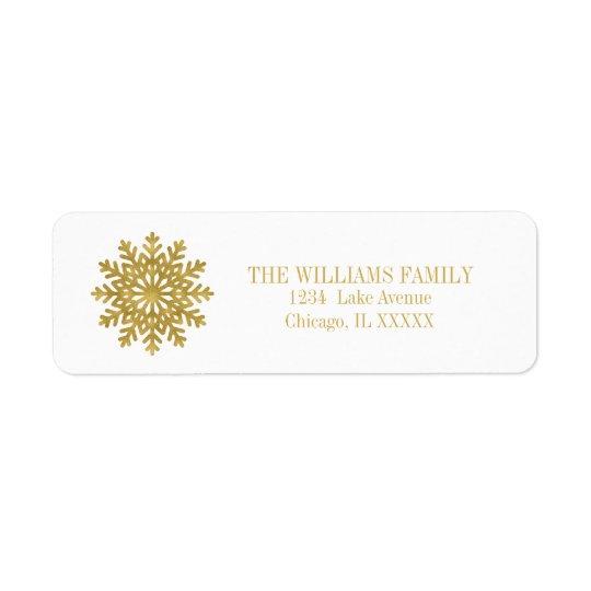 Elegant Gold Snowflake Holiday Address Labels