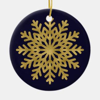 Elegant Gold Snowflake Holiday Circle Ornament