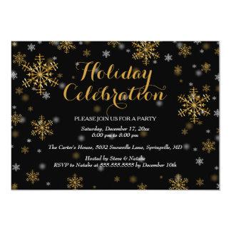 Elegant Gold Snowflake Holiday Party Invitation